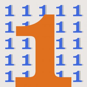 A large orange number one in the bottom center of the image with rows of smaller blue ones behind it. The background is a light grayish orange.