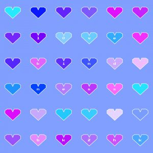"""A 6 by 6 grid of hearts that are different shades of pink, purple, and blue with a white stroke. The letters of the words """"love kindness"""" and """"bk2hk"""" are inside select hearts in a white pixel font. The background color is a solid light blue."""